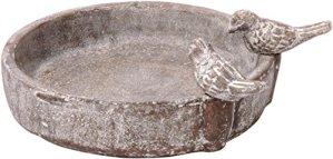 dobar 12971 Abreuvoir Rond avec Deux Oiseaux décoratifs en céramique pour Oiseaux Sauvages Gris Pierre