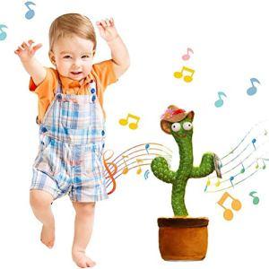 Dunmo Jouet en peluche en forme de cactus en coton PP + peluche courte en forme de plante chante dansante brillante décoration de vacances pour enfants jouet éducatif amusant