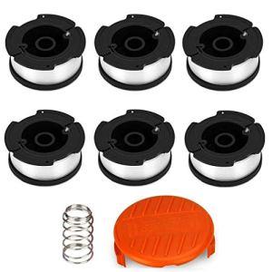 ELETEK Bobines de fil pour débroussailleuse Black & Decker, fil en nylon 6 x 9 m Ø 1,65 mm + 1 capuchon + 1 ressort pour débroussailleuse Black & Decker