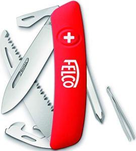 FELCO 506 Couteau de Poche Pliant avec 10 Fonctions Tournevis et Lame Robuste en Acier Inoxydable Anti-Rayures avec poignée Soft Touch Rouge