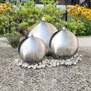Festnight 3 pcs Sphères de Fontaine de Jardin Boule de Décoration avec LED Acier Inoxydable