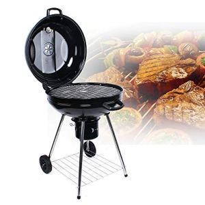 Fetcoi Barbecue de camping d'extérieur sur roulettes – Grand barbecue au charbon de bois – 56 cm