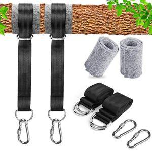GothicBride Sangles de hamac pour extérieur, kit de suspension de 150 cm de long avec 2 mousquetons de sécurité robustes pour le camping, la randonnée, le patio, les hamacs et les balançoires