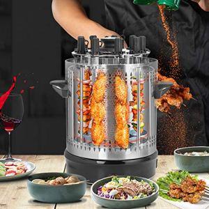 Grille électrique avec tournevis, acier inoxydable, rotation automatique de 360 degrés, sans fumée, machine pour barbecue vertical pour la maison, 9 brochettes (EU)