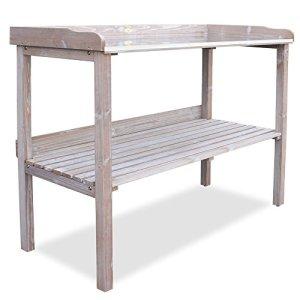 HABAU 3108 Table de Jardin avec Plan de Travail en métal Blanc Antique