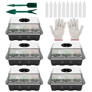 harupink Serre d'intérieur – Mini serre – Kit de culture avec couvercle et ventilation – 12 trous – Bac à germer pour semis – 5 pièces – Noir