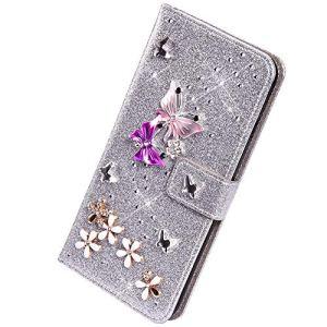 Herbests Compatible avec Xiaomi Redmi Note 7 Coque Portefeuille,Lux Glitter Diamant Papillon Etui de Protection en Cuir à Rabat Magnétique Porte Carte Flip Case Cover,Argent