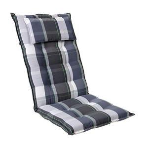 Homeoutfit24 Sun Garden – Coussin de Chaise de Jardin, (120 x 50 x 9 cm), Coussin de tête Amovible, 1 pièce – Carreaux Bleus