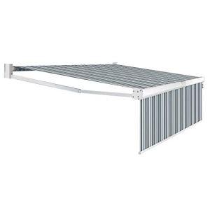 IDMarket – Store banne Manuel 3,95 m x 3 m Gris rayé Blanc Lambrequin Enroulable H. 1,40 m