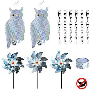 INCREWAY Kit de répulsif pour oiseaux avec 2 répulsifs à oiseaux et 6 tiges réfléchissantes et ruban adhésif et 3 moulins à vent