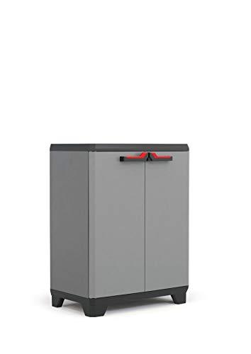 KETER | Armoire basse Stilo , Gris/Noir/Rouge, 68 x 39 x 90 cm, Plastique