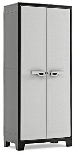 KETER   Armoire Haute TITAN, Noir/Gris, 80 x 44 x 182 cm, Plastique