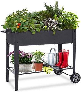 KHOMO GEAR – Potager urbain – Chariot surélevé et galvanisé pour culture en maison, plantes, arbres fruitiers, légumes, terrasse, jardin, intérieur et extérieur, noir