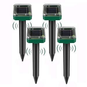 Koqit Lot de 4 répulsifs solaires à ultrasons IP56 – Répulsif anti-taupes – Répulsif contre les campagnols – Répulsif contre les taupes – Pour le jardin