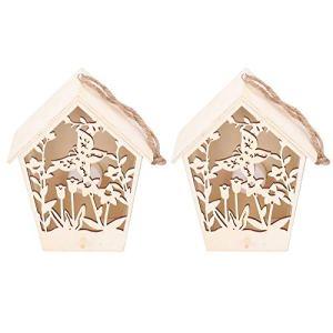 Ladieshow 2 pièces en Bois Maison d'oiseau intérieur extérieur décor Jardin nichoir avec des Ornements en Bois de lumière Chaude