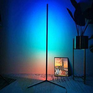 Lampe de Plancher à LED de Plancher de Plancher Lampes Debout, Lampes minimalistes Modernes, télécommande lumière Chaude, Neutre, lumière Blanche, pour Le Salon décor de l'éclairage, Noir