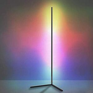 Lampe de plancher de coin à LED avec télécommande pour salon, couleur de la couleur Atmosphère debout Lampe de plancher moderne Dimmable pour la décoration de la chambre pour enfants, 140cm