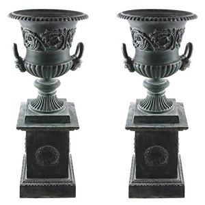L'Héritier Du Temps Paire de Vasque et Socle Géant Vase Extérieur de Chateau en Fonte 44x44x111cm – Vert