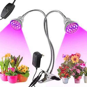 Lumière de plante à LED, 60W LED à spectre complet élèvent la lumière, lampe de culture à double tête à double interrupteur avec 80 LED et col de cygne flexible à 360 ° pour plantes d'intérieur Herbes