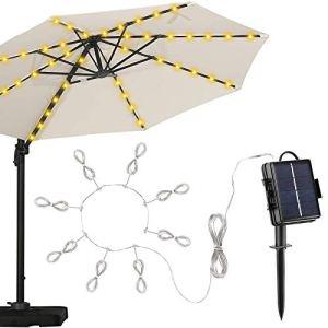 Lumières de Parasol, TAOPE 104 LED Eclairage Parasol à énergie Solaire, 8 Modes D'éclairage Lampes Extérieures étanches avec Télécommande pour Patio Jardin, Décoration de Noël Halloween -Blanc chaud