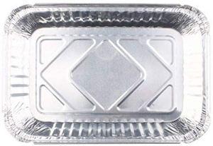nonbrand Paquet de 100 bacs d'égouttement carrés surdimensionnés en Papier d'aluminium, bacs de récupération de Graisse jetables, revêtements de bac d'égouttement de Gril pour récupérer la Graisse