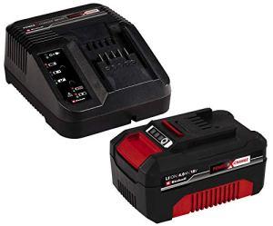 Original Einhell Starter Kit batterie et chargeur Power X-Change (Lithium-Ion, 18 V, 4.0 Ah batterie, usage universel, pas d'auto-décharge, cycle de charge spécifiquement adapté)