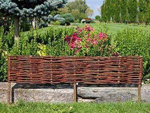 Palissades en Osier – Cadre de lit – Clôture en Osier – Bordure de pelouse – Palissade – Produit UE (10 pièces – 100×10 / 20 cm)
