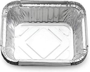 Paquet de 50 bacs d'égouttement carrés en papier d'aluminium, bacs de récupération de graisse jetables, revêtements de barbecue compatibles avec les grilles de barbecue Napoleon Weber à attraper