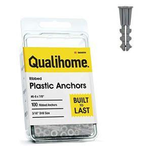 Qualihome Une meilleure qualité des ancres en plastique ondulé (100 unités) # 8/6 x 7/8″