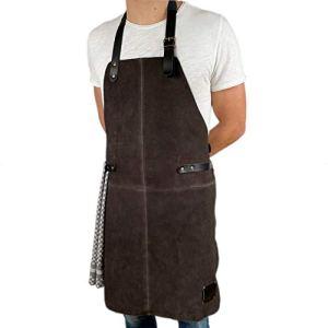 REDSALT® tablier cuir de buffle souple, suede, tablier barbecue | 84x62cm | accessoires pour la cuisine exterieur, le serveur et le barman, comme tablier de cuisine | cadeau homme