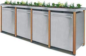 Reinkedesign Cache-poubelle en acier inoxydable avec poteaux en mélèze (2 x 240 l + 2 x 120 l, bac à fleurs et design B)