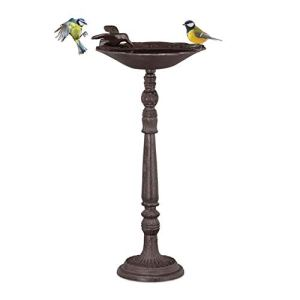 Relaxdays Abreuvoir en Fonte sur Colonne, Décoration pour Jardin,mangeoire avec Soucoupe pour Oiseaux Sauvages 40 cm, Haut Brun, Marron