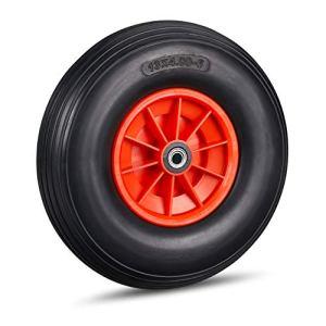 Relaxdays, noir-rouge brouette caoutchouc 4.00-6, roue rechange axe, increvable, essieu, 3 adaptateurs, 136 kg