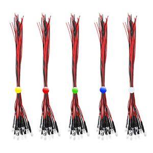 RUNCCI 50Pcs diode électroluminescente,lumière pré-câblée, LED voiture voiture jouets diode électroluminescente
