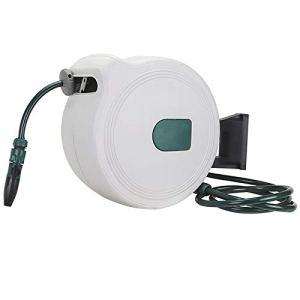 Ryyland-Home Support de Tuyau Tube Automatique Collecteur Tuyau d'eau Support de Rangement approprié for l'arrosage des Fleurs et Voiture Lavage Dévidoir Panier Mur (Color : White, Size : 30m)