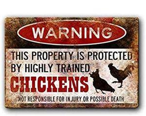Signes plaque en métal, drôle de poulet, Poulet Pancarte, drôle Poules signer, sont protégées par des Poules, Homestead Sign, Poulet Lady Cadeau