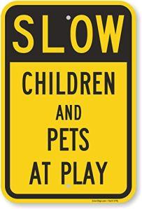 Smartsign plaque signalétique, Legend»Slow–Enfants et les animaux à jouer», Noir sur jaune, 18″ x 12″, Black on Yellow, 1