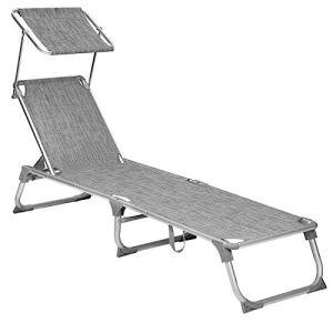 SONGMICS Chaise longue, Bain de soleil, Transat de relaxation, avec dossiers et parasol inclinables, pliable, léger, 55 x 193 x 31 cm, charge 150 kg, pour jardin, Gris chiné GCB19TG