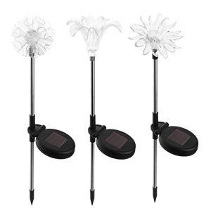 Tabpole Lampe solaire en forme de fleur pour pelouse – Étanche – À énergie solaire – Décoration pour clôture, jardin