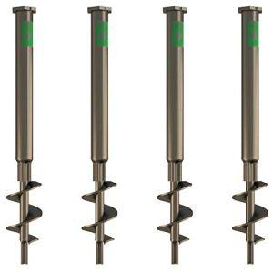 T-BLOCK – Kit de 4 vis d'ancrage au sol longueur 50 cm Ø 35-17 inox tête hexagonale 46 mm avec point fixe M12.