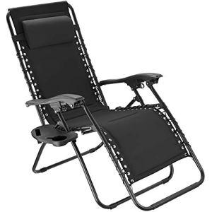 TecTake 800885 Chaise Longue Toile Tendue Pliable avec Rembourrage de Tête Amovible – Diverses Couleurs – (Noir)