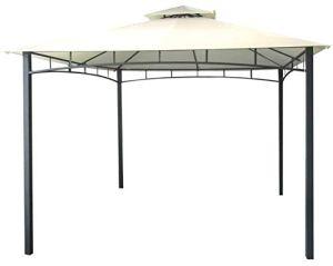 Tonnelle de jardin avec bâche imperméable Ecru en métal et fer noir satiné 3x 3mètres antirouille et double toit Anti Vent poteaux porteurs 6x 6cm