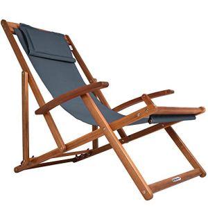 Transat en bois d'acacia anthracite réglable sur 3 niveaux Chaise de jardin pliable avec repose-tête
