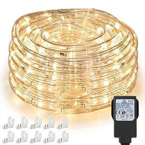 Tuyau lumineux à 240 LED – 10 m – Étanche IP65 – Alimentation électrique – Avec prise européenne – Pour l'intérieur et l'extérieur – Pour une fête, un mariage – Blanc chaud