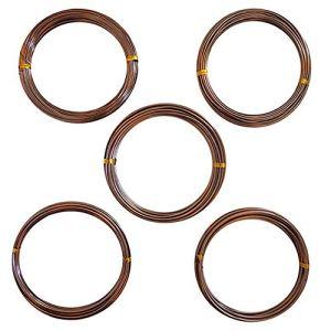 Velidy Lot de 5 Rouleaux de Fil d'entraînement en Aluminium anodisé pour bonsaï 5 Tailles (1 mm, 1,5 mm, 2 mm, 2,5 mm, 3 mm) Marron