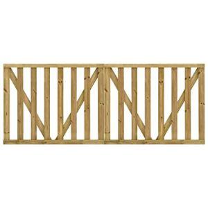 vidaXL 2X Portillons de Jardin à Lattes Portail de Jardin Porte de Clôture Porte de Patio Portillon de Terrasse Extérieur Pin Imprégné 150×120 cm