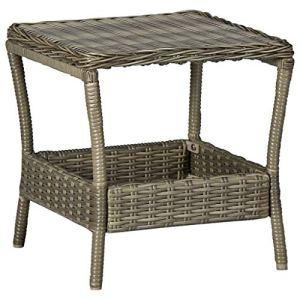 vidaXL Table de Jardin Table Basse d'Extérieur Meuble de Patio Table de Terrasse Meuble de Jardin Arrière-Cour Balcon Marron Résine Tressée