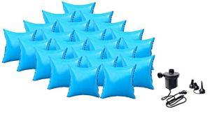 well2wellness Coussin Gonflable d'hivernage pour Piscine + Pompe électrique – 22 Coussins