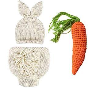 1set Photo De Bébé Nouveau-né Props Photographie Props Wraps Doux Ripple Tricot Main De Lapin De Pâques Costume Crochet Tenues en Tricot 0 À 6 Mois