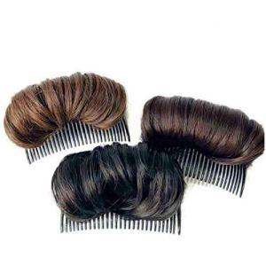 3pcs Invisible Fluffy False Hair Hair Pad, Hair Base Bump Styling Insert Tool, Used for Thinning Hair Makes Hair Look More Lush and Natural(Black+Brown+Light Brown)